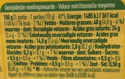Beurre demi écrémé - Nutrition facts