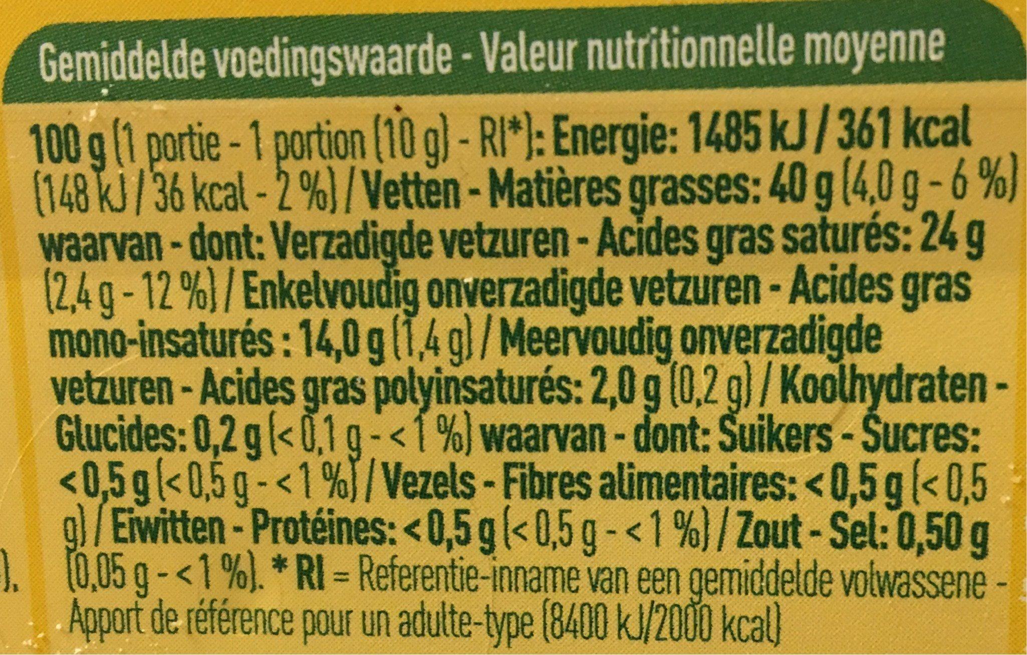 Beurre demi écrémé - Nutrition facts - fr