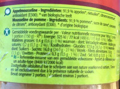 Mousseline de pommes - Voedingswaarden - fr
