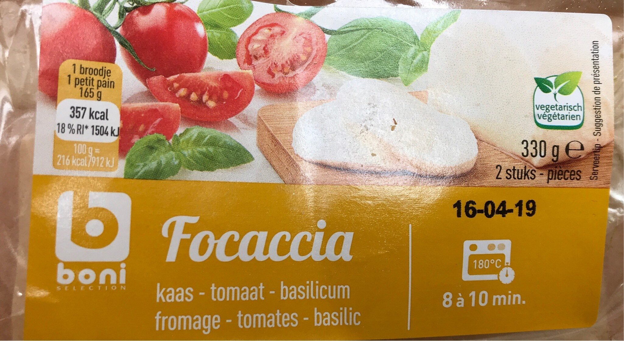 Focaccia fromage tomates basilic - Product