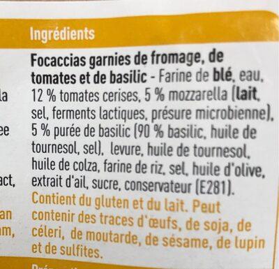 Focaccia fromage tomates basilic - Ingrediënten - fr