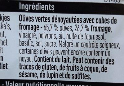 Olives vertes cubes de fromage - Ingredients
