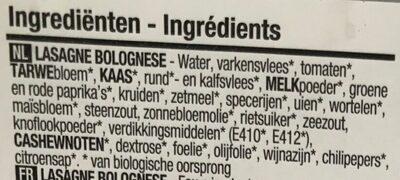Boni - Bio lasagne bolognese - Ingrediënten