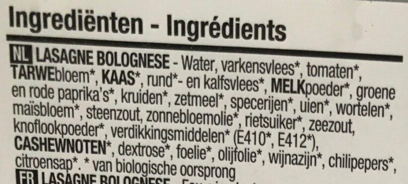 Boni - Bio lasagne bolognese - Ingrediënten - nl