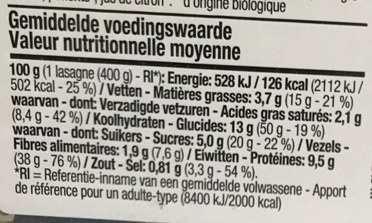 Boni - Bio lasagne bolognese - Voedingswaarden