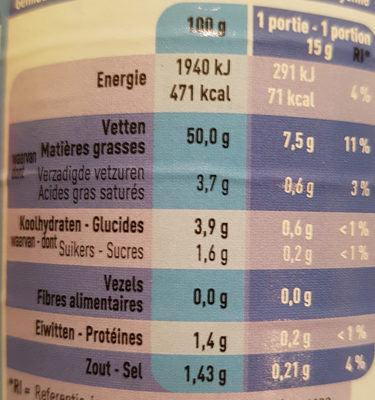 Dressing light boni - Informations nutritionnelles - fr