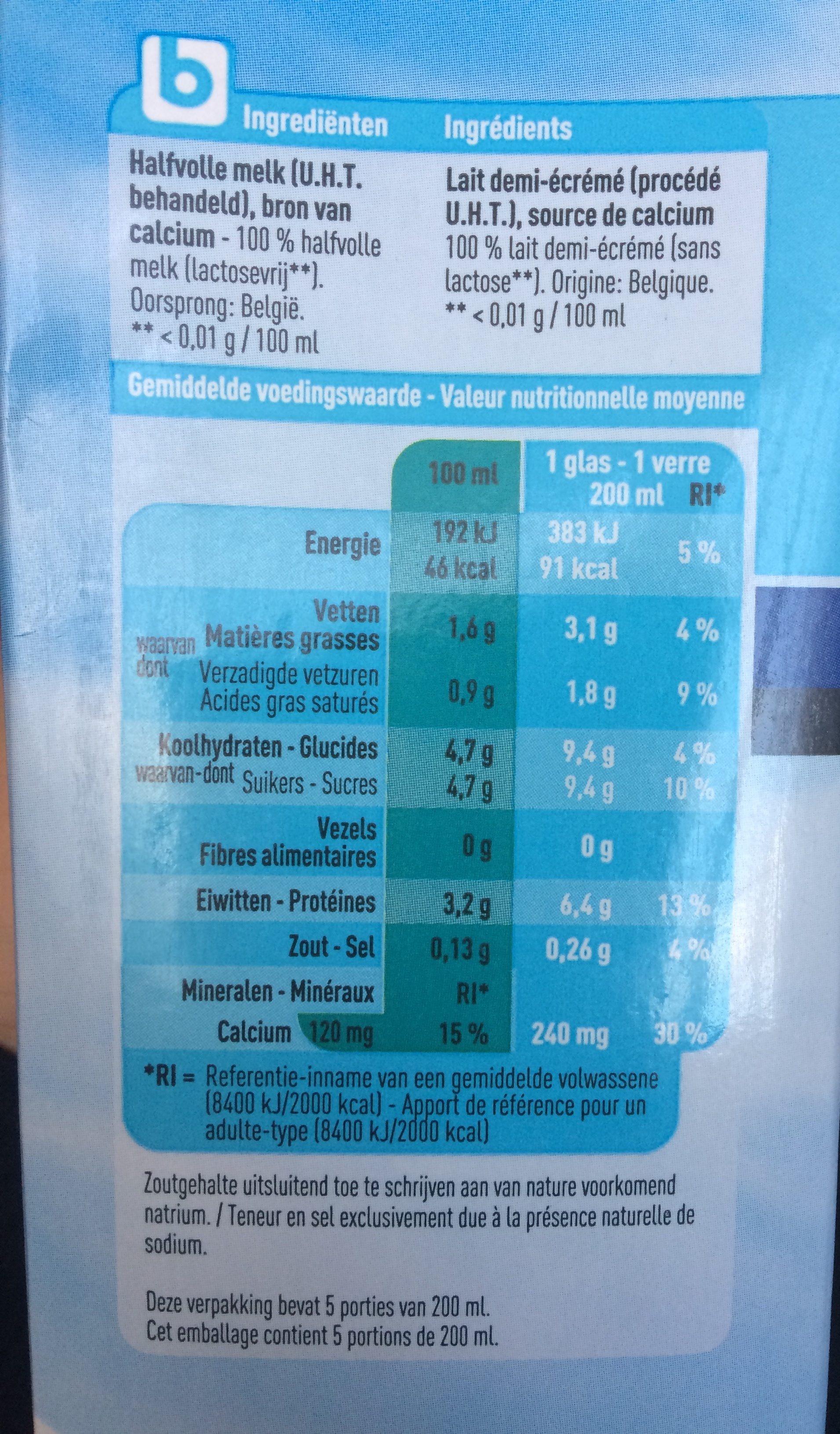 Lait sans lactose - Ingrediënten