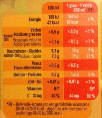 Jus d'orange - Nutrition facts - fr