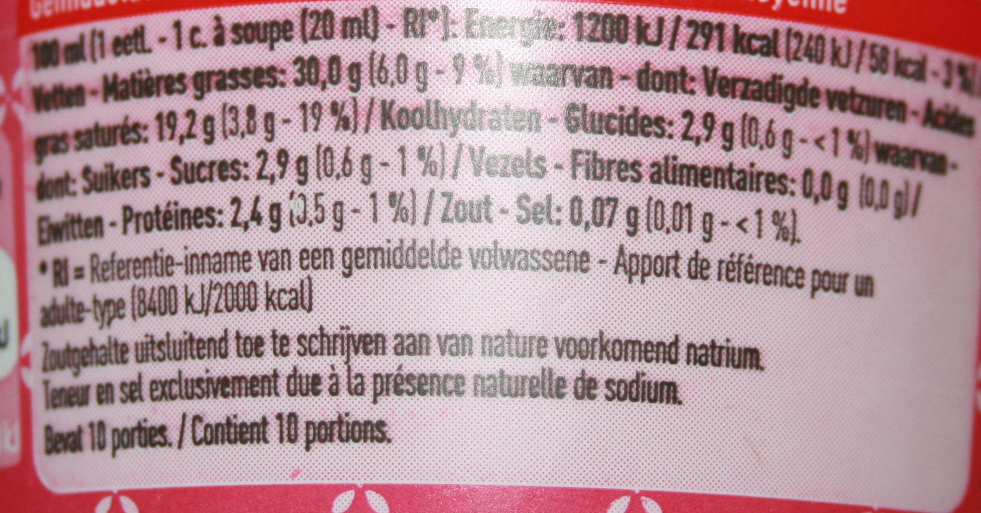 crème épaisse - Voedingswaarden - fr