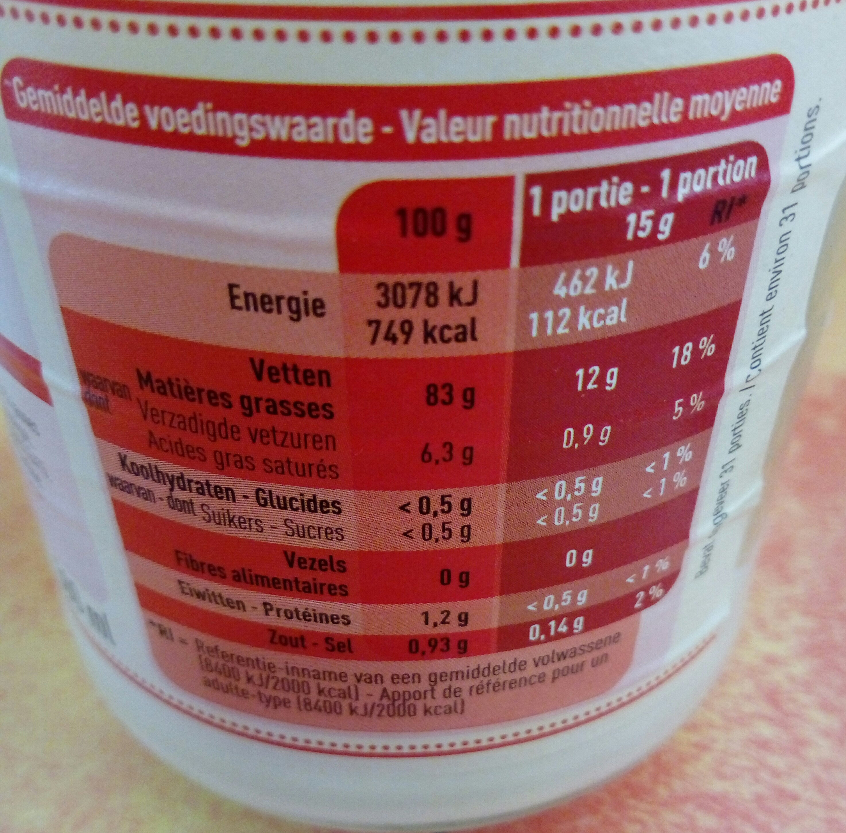 Mayo - Nutrition facts - fr