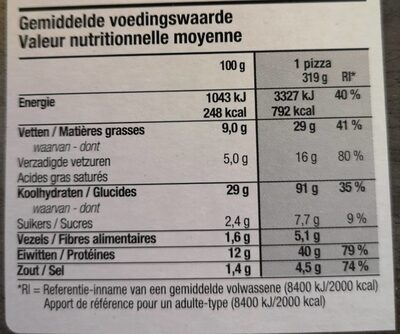 Pizza tre formaggi - Nutrition facts - fr