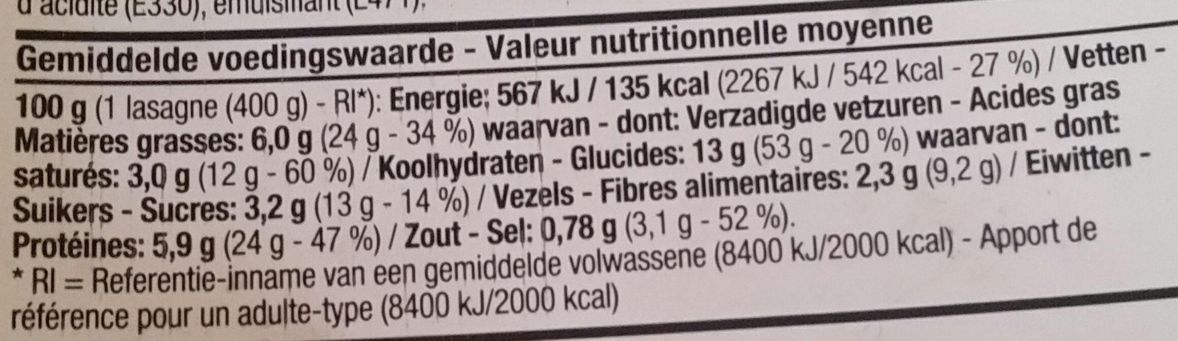 Lasagne verde - Voedingswaarden - fr