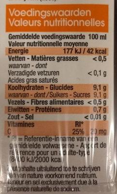 Jus d'orange - Voedingswaarden
