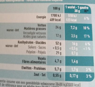 Gaufres au chocolat - Voedingswaarden - fr