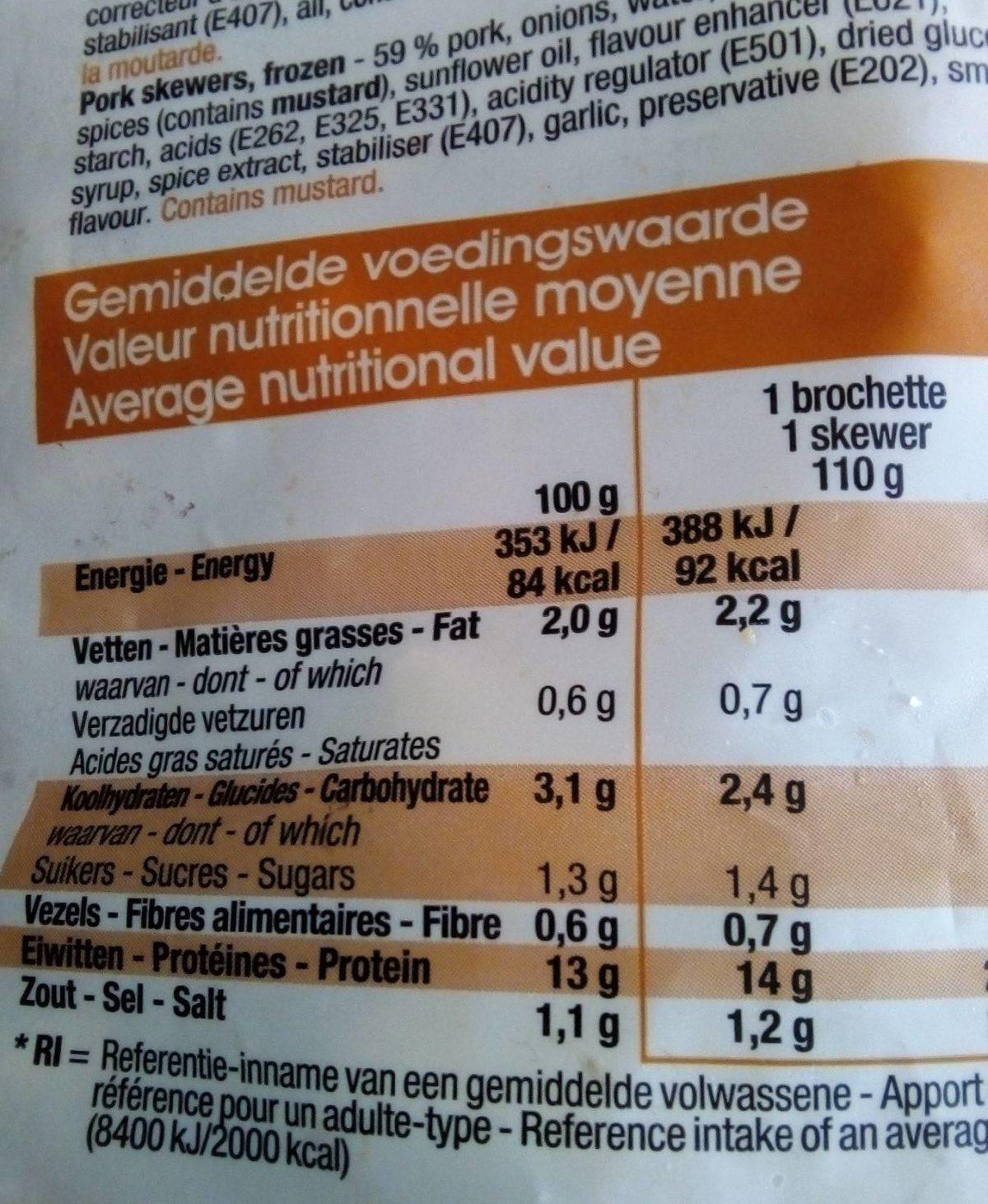 Brochettes - Voedingswaarden