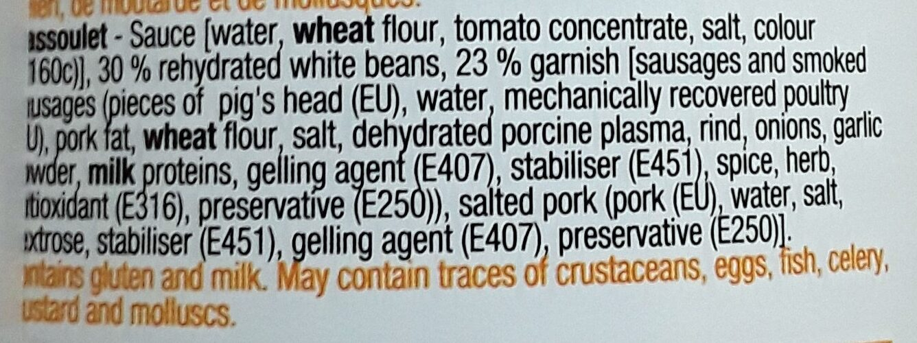 Cassoulet - Ingredients - en