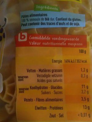 Pâtes Animaletti - Ingrediënten - fr