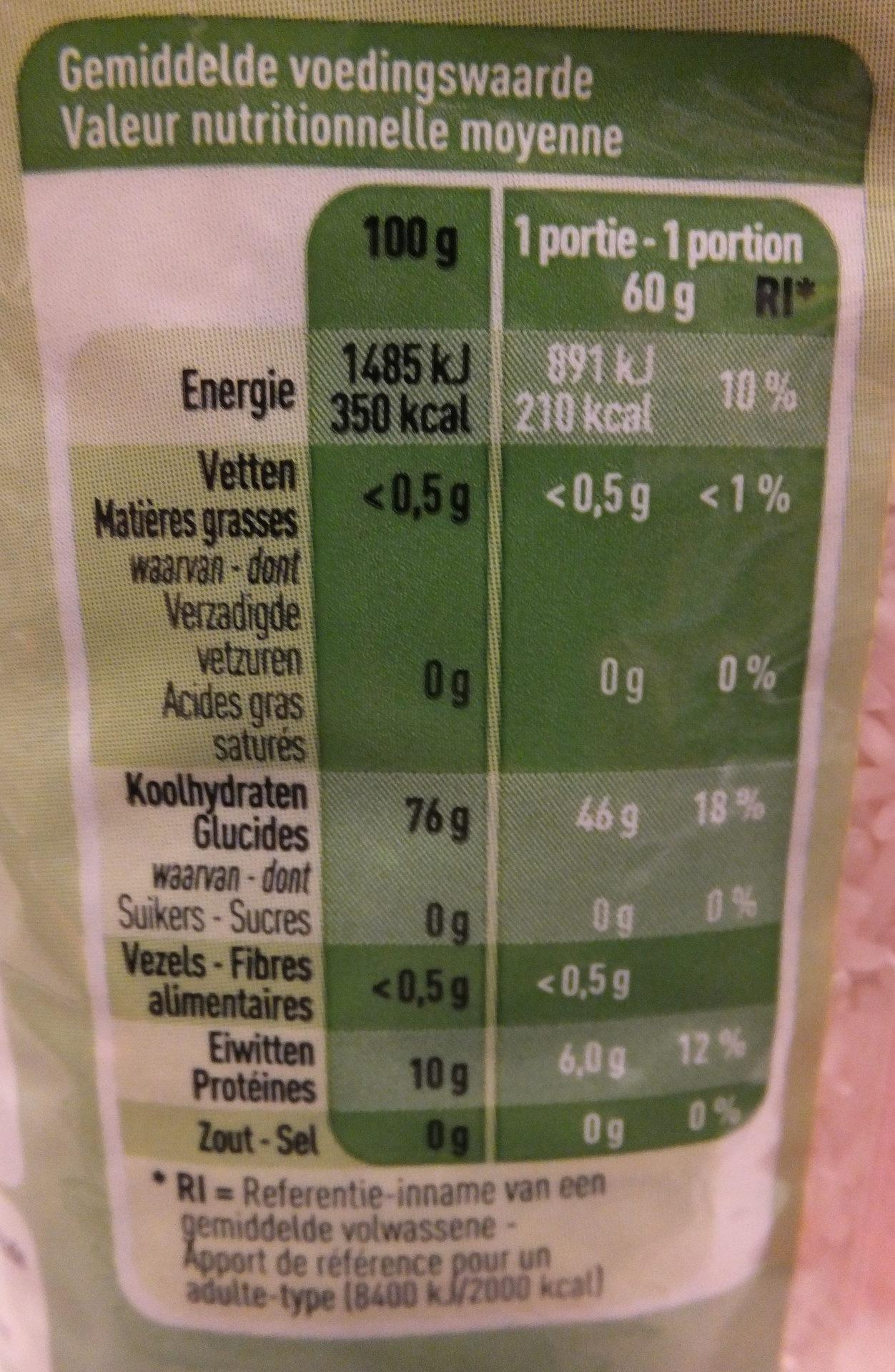 Riz Basmati Bio - Voedingswaarden - fr