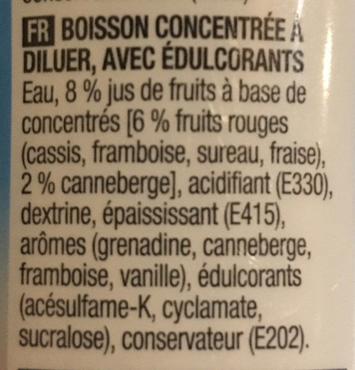 Grenadine-cranberry 0% - Ingrediënten - fr