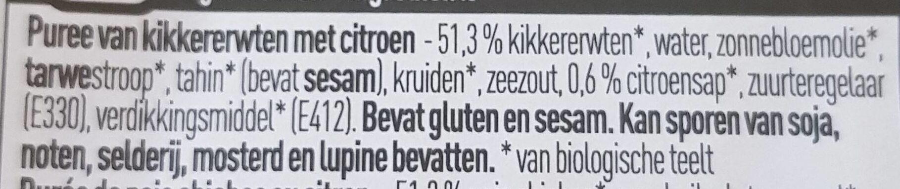 Bio - Hoummous - Ingrediënten - nl