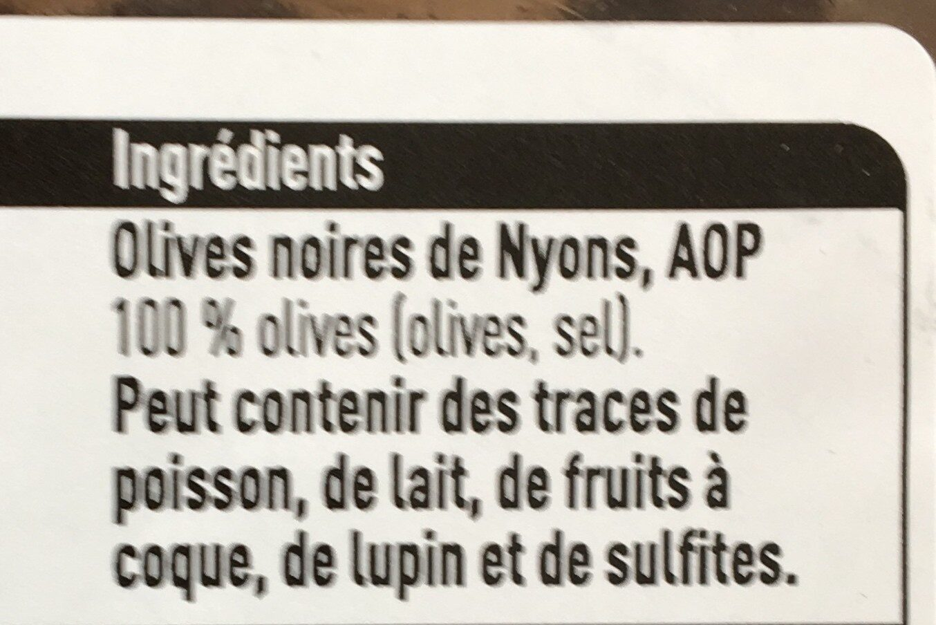 Olive noir - Ingrediënten