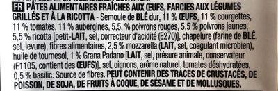 Girasoli légumes grillés & Ricotta - Ingrediënten - fr