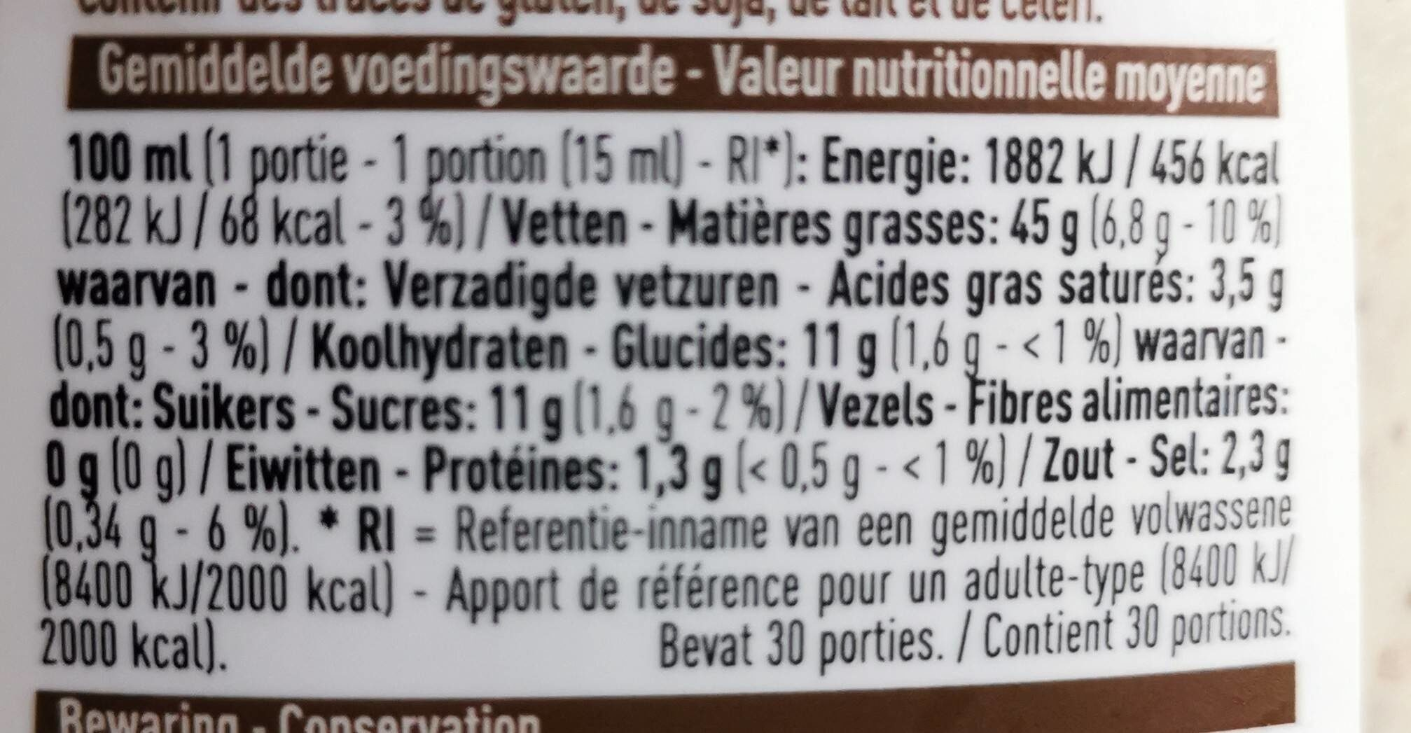 Miel Moutarde - Voedingswaarden - fr