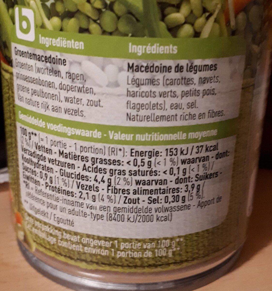Macédoine de légumes BONI - Nutrition facts - fr