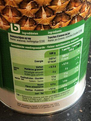 Ananas au jus - Informations nutritionnelles