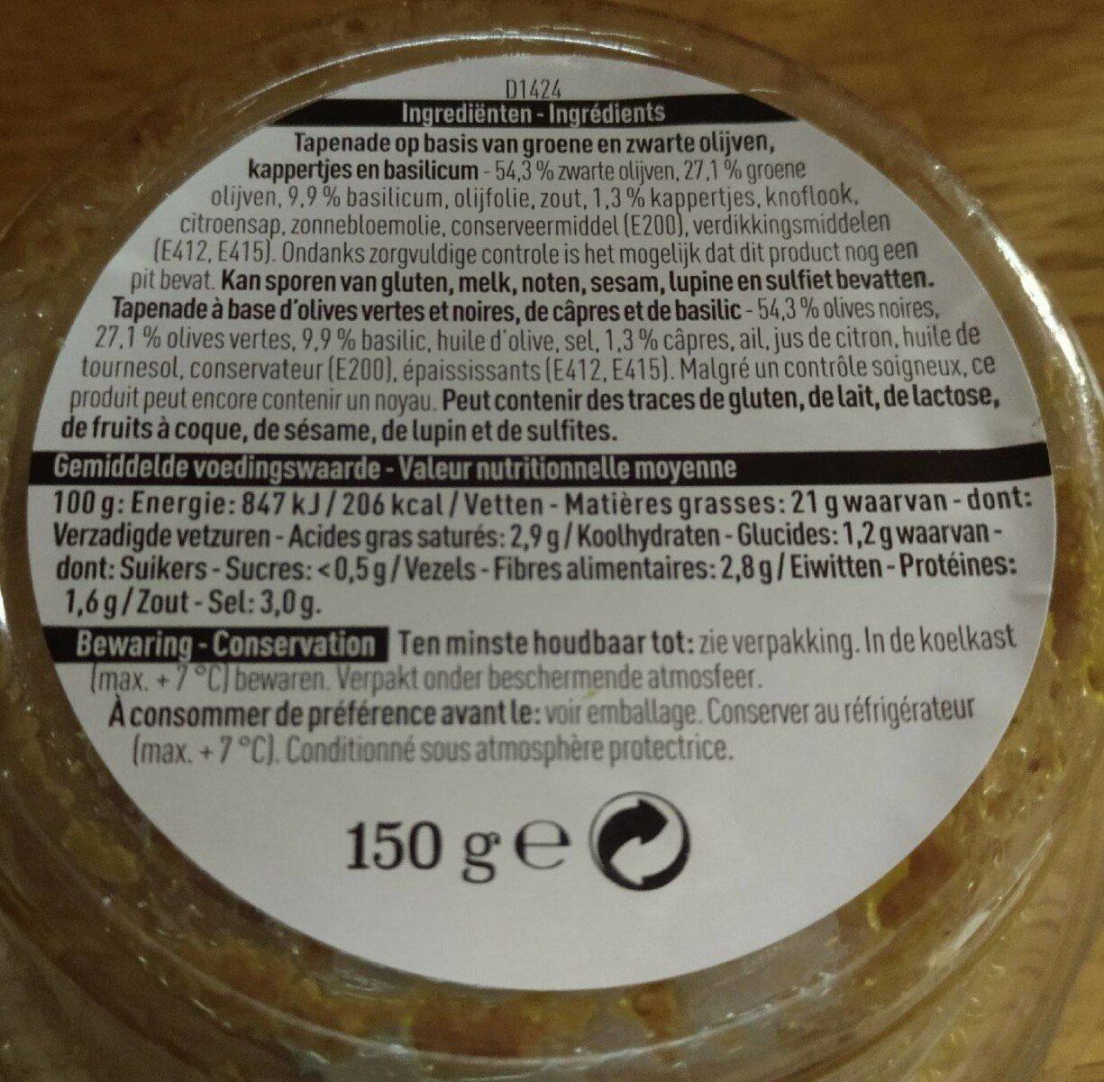 Tapenade olives vertes et noires - Informations nutritionnelles
