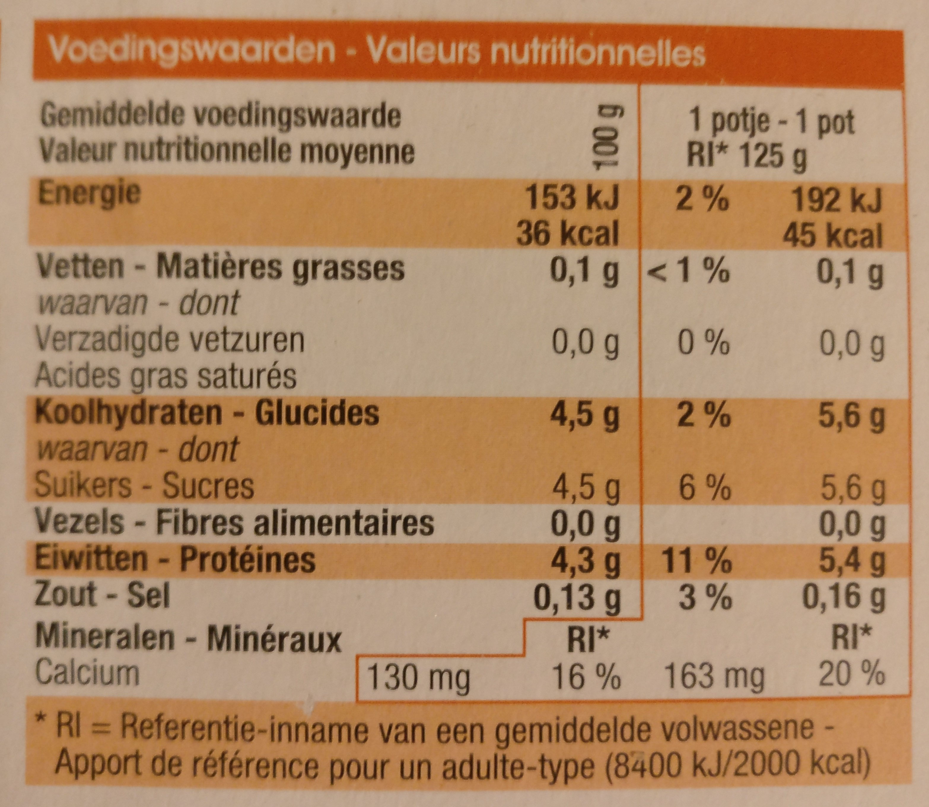 Yaourt maigre, magere yoghurt - Voedingswaarden - nl
