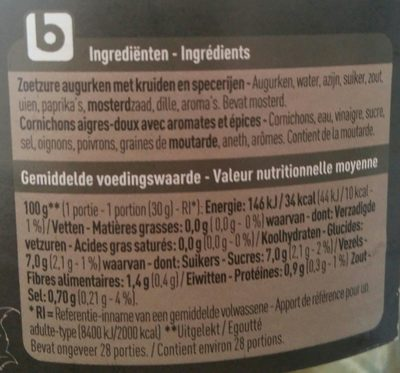 Cornichons aigre-doux - Ingrédients