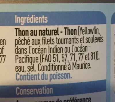 Thon au naturel - Ingrédients