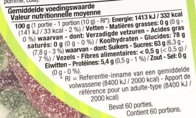 Zure snoepmix (Mélange de bonbons acidulés) - Voedingswaarden