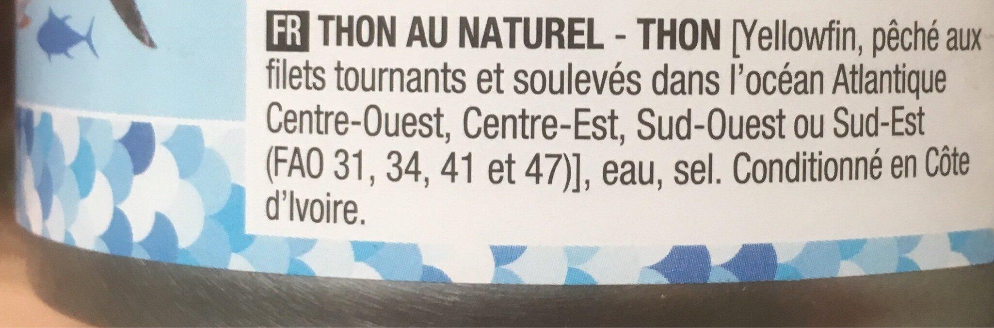 Thon au naturel - 成分 - fr