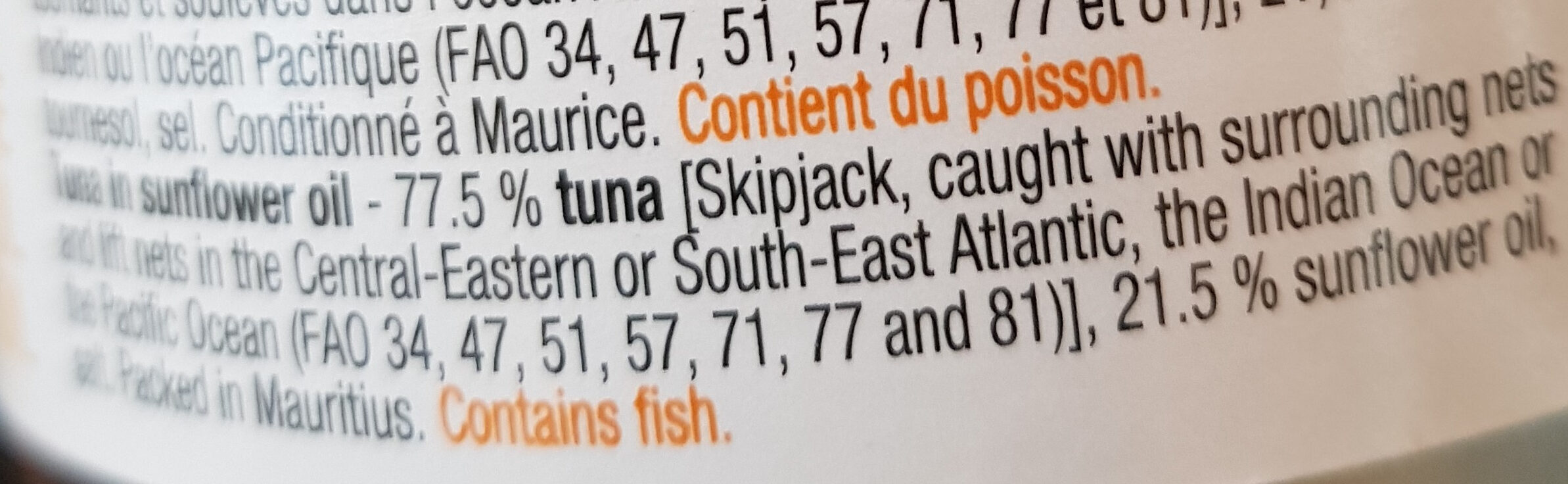 Thon à l'huile de Tournesol - Ingredients