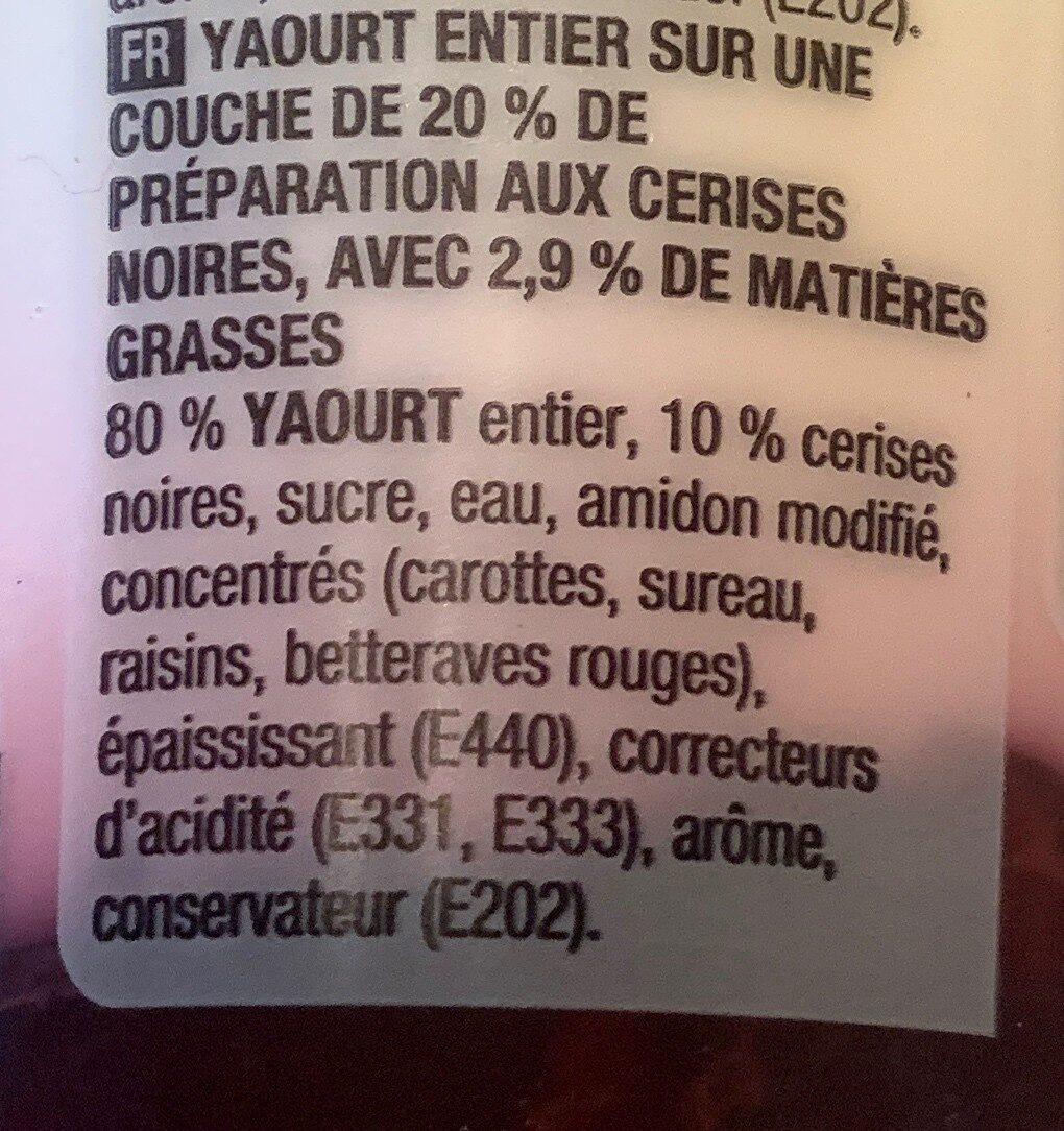 Yaourt entier cerise noir - Ingrediënten - fr