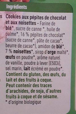 Cookies aux pépites de chocolat et aux noisettes - Ingredients