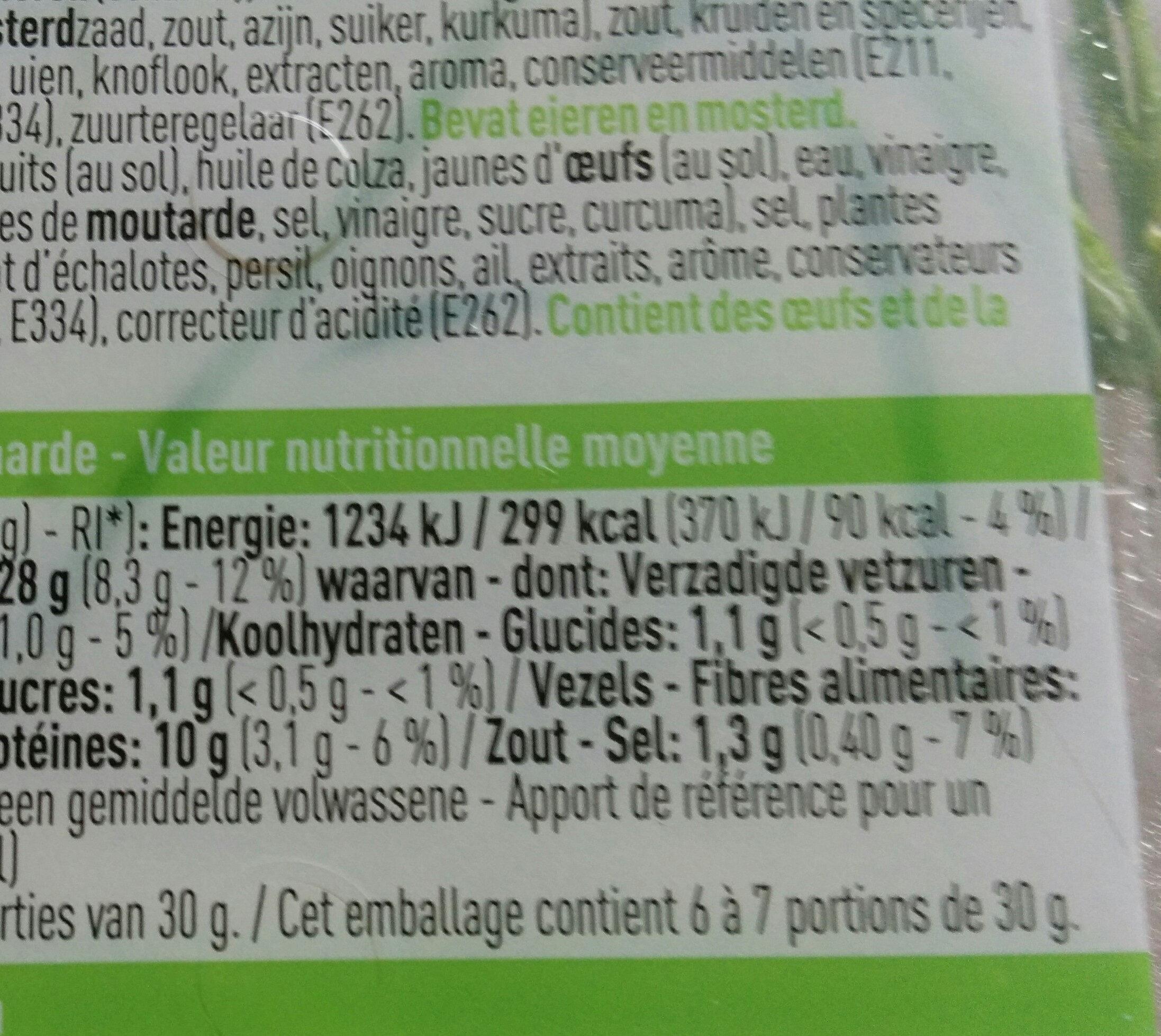 Salade d'œufs - Voedingswaarden