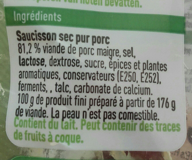 Saucisson sec - 成分 - fr