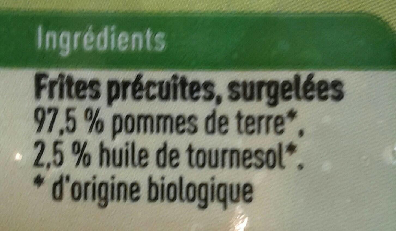 Frites Boni Bio - Ingrédients