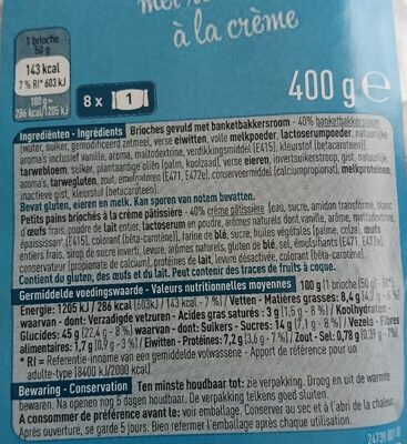 Brioche à la crème - Informations nutritionnelles - fr