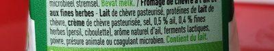 Fromage de chèvre ail et fines herbes - Ingrediënten - fr