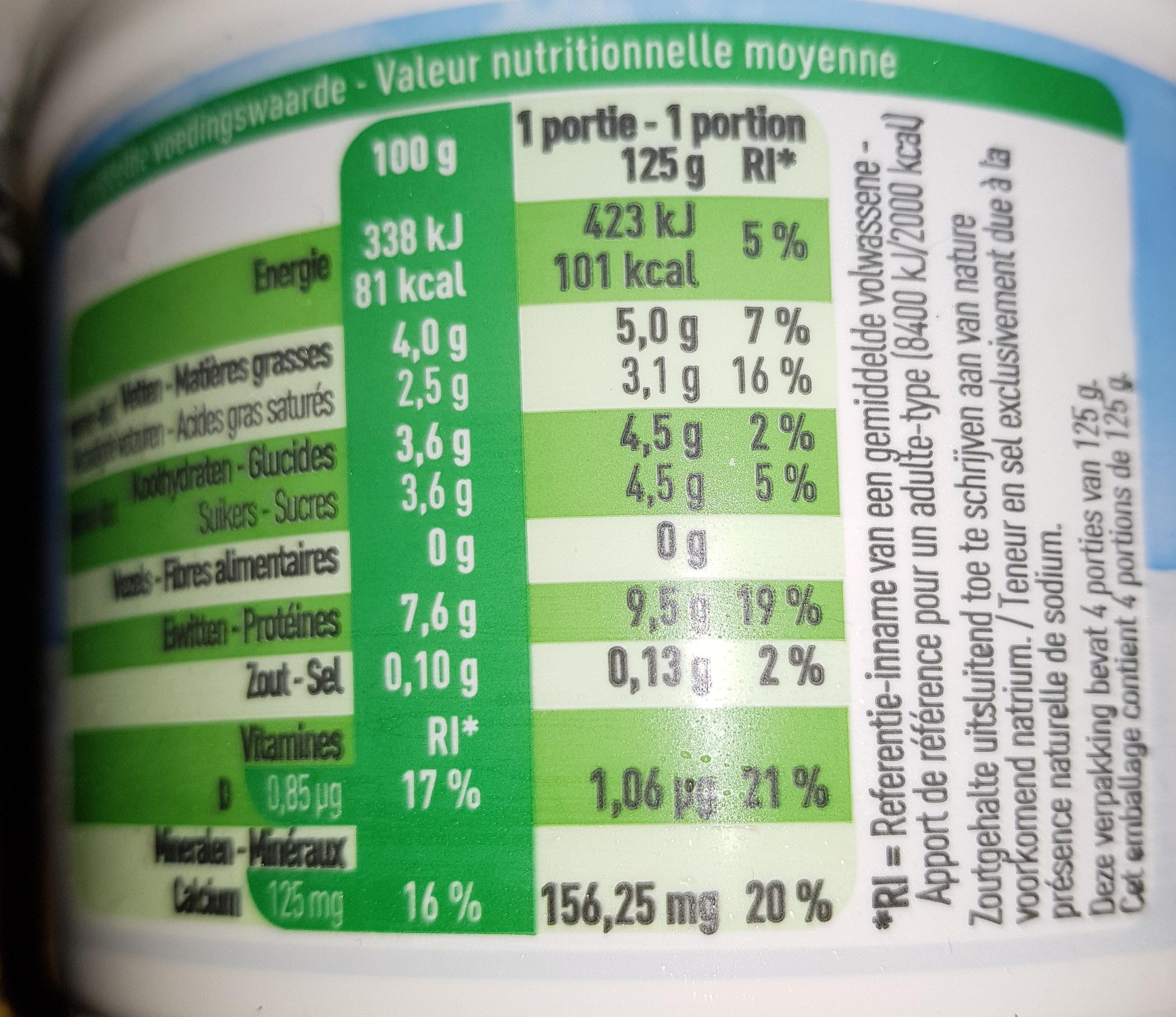 Fromage frais demi écrémé - Voedingswaarden - fr