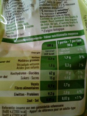 Bio muesli - Voedingswaarden - fr