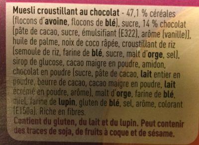 Crunchy Muesli au Chocolat - Ingrediënten - fr