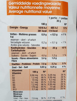 Cornflakes - Voedigswaarden