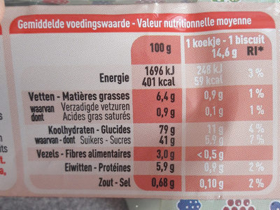 Biscuits aux fruits - Nutrition facts