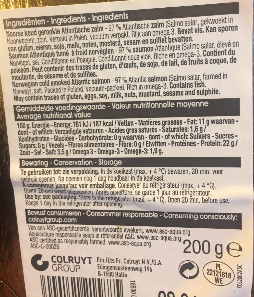 Saumon Atlantique fume - Ingredients