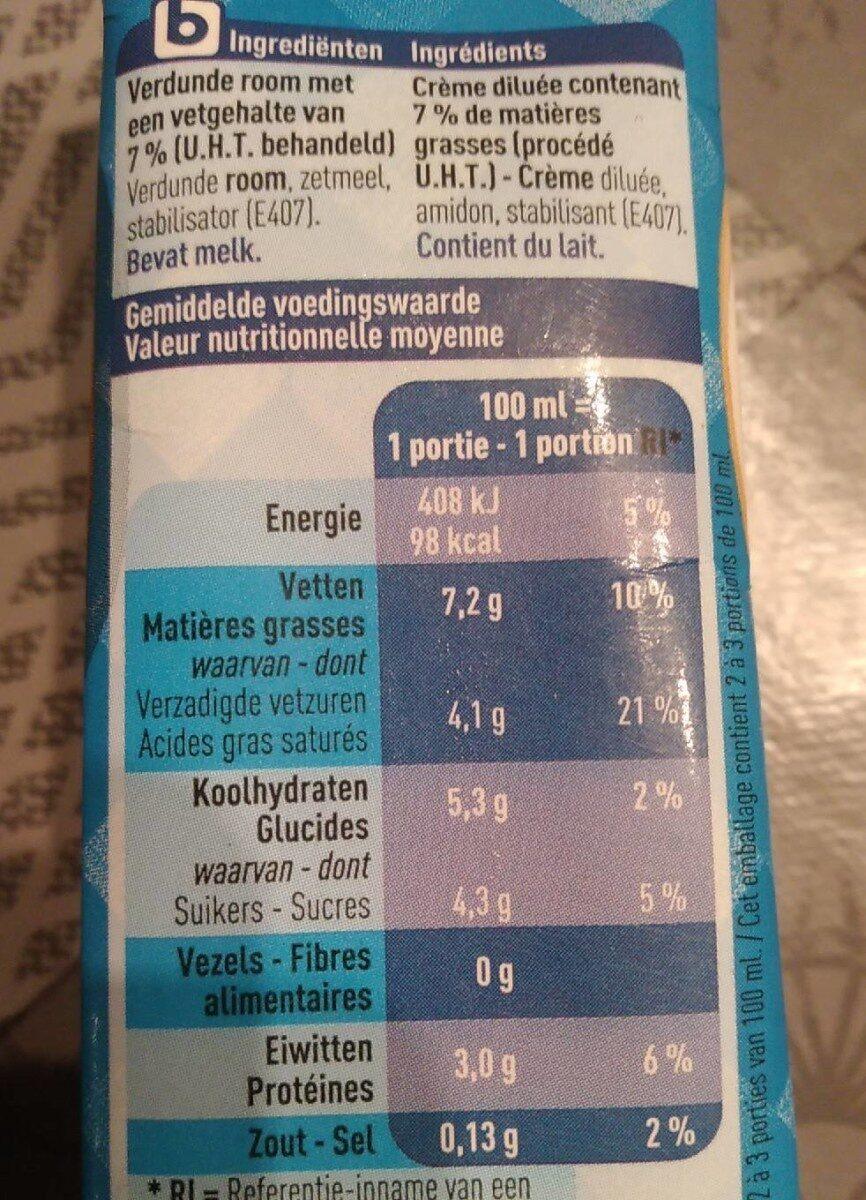 Crème extra légère - Voedingswaarden - fr
